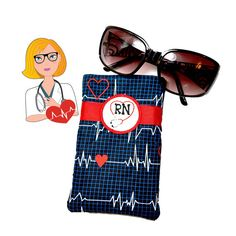 NURSE GIFT Eyeglass Case Eyeglass Holder Cell Phone Pouch Gift for Nurse Blue White Red Heart Monitor Sunglasses Case Travel Accessory by sewsationalstitches. Explore more products on http://sewsationalstitches.etsy.com