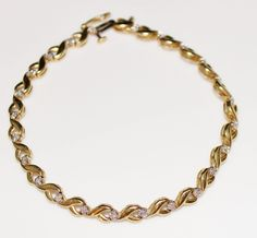 Estate 10k Yellow Gold Diamond Tennis Bracelet, .24 CTW, 7 1/4', 5.7 Grams