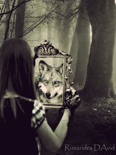 """Every man has a wild beast within him."" Frederick The Great Interesting take. Perhaps use this idea for the ""werewolf riding hood scene"". Frederick The Great, Mirror Photography, Fantasy Photography, Nova Era, She Wolf, Wolf Spirit, Spirit Animal, Love Fairy, Dark Fantasy Art"
