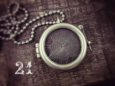Charlotte's Web Talisman Necklace  Real Spider Web 21 by wlcook, $40.00