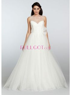 BEADING CHAPEL TRAIN ORGANZA A LINE WEDDING DRESS