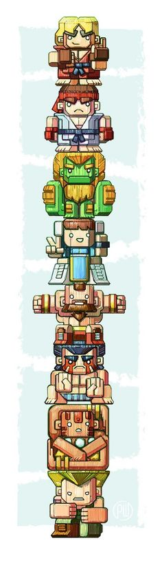 Street Fighter Totem Pole by Paul Wilson Game Character, Character Design, World Of Warriors, Mundo Dos Games, Art Anime, Comic Games, Fan Art, Geek Art, Fighting Games
