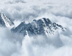 De Alpen boven de wolken Schilderij Drieluik I