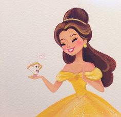 Totally cute Belle and Chip illustration