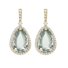 Candy Green Amethyst and Diamond Earrings