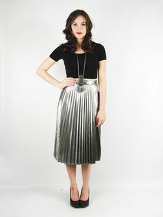 All I can say about this skirt from Trashy Vintage is WOW!! Vtg 80s Metallic Silver Lame Liquid Draped High Waist Pleat MIDI Dress Skirt s M | eBay