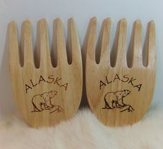 Collectible wooden, Alaska, Bear Claw, Salad, Serving, Forks. Forks are in very good preowned condition. Use in the kitchen or just display them. | eBay!