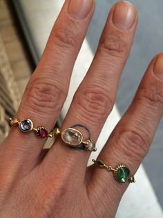 Multi precious stone rings by Dorette