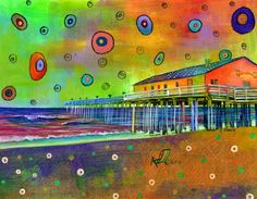 """Kitty Hawk Pier"" by Carolina Coto. You can see more at www.carocoto.com and www.facebook.com/ArteCarolinaCoto"