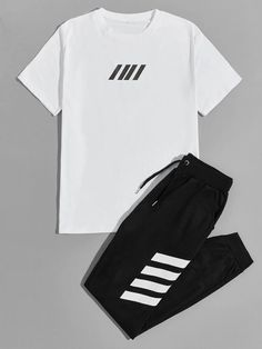 Men Geo Print Tee & Drawstring Sweatpants | SHEIN USA Swag Outfits Men, Lazy Outfits, Sporty Outfits, Retro Outfits, Mens Tracksuit Set, Boys Designer Clothes, Hype Clothing, Stylish Hoodies, Joggers Outfit
