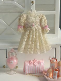 Dollhouse Valenciens lace girl dress,embroidered by hand.1:12 dollhouse miniature dress
