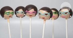 From a 1950's cake pop set ~ brunettes with cat eye glasses