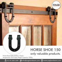 Horse Shoe Slider Rollers+Track+Accessories+End Caps Weight Capacity 150Kg. . . . #PAGHardware #PAG #slider #foldingdoor #door #safe #stylish #smooth #design #architect #architecture #slim #slimdesign #design #creative #contact #hardwareknobs #homeimprovements #homedecor #decor #upgrade #hardwareaccessories #hardwarestore #home #secure #doorfurniture #homedoor #solutions #key #interiordesign #designer #premium #style Sliding Door Systems, Design Architect, Horse Accessories, Door Furniture, Folding Doors, Rollers, Sliders, Home Improvement, Track