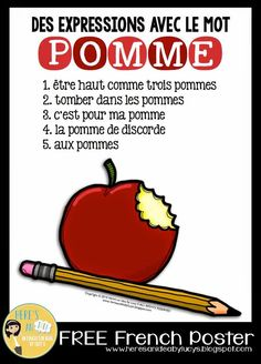 Here's an idea: FREE French Poster - apple expressions - des expressions avec le mot POMME