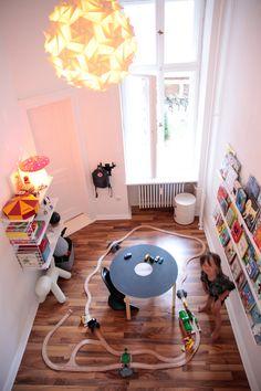 playroom...chalkboard drawing table, wall book shelf