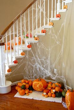 decorated stairs with pumpkins
