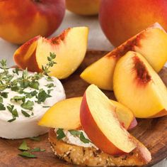 Try this new way to serve peaches from Harry & David. Pair expertly grown peaches with a gourmet artisan goat cheese. Cut up peaches and crumble the goat cheese over the slices and drizzle with wildberry pear honey. This makes a perfect summer dessert, breakfast or snack.