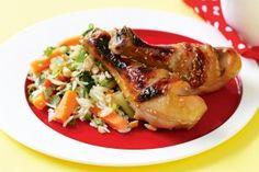 Honey soy chicken with vegie rice