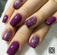 Manicure, Sns Nails, Glitter Gel Nails, Silver Nails, Purple Nails, Silver Nail Designs, Purple Nail Designs, Short Nail Designs, Acrylic Nail Designs