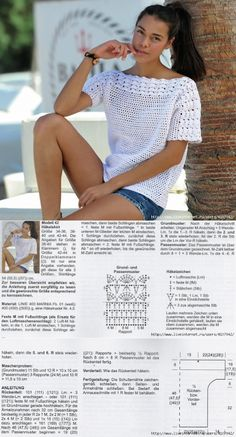Golden Crochet: T-shirt blanc délicieux! # kleidunghäkeln Crochet doré: D . Débardeurs Au Crochet, Crochet Woman, Easy Crochet, Free Crochet, Crochet Tops, Crochet Cardigan Pattern, Crochet Blouse, Knitting Patterns, Knit Patterns