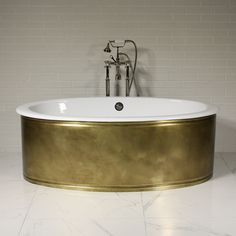'The Chelsea' Oval Double Ended Cast Iron Tub Package (Solid Weathered Brass Skirt) Decor, Iron, Cast Iron Bathtub, Tub, Home Decor, Bathtub, Sink