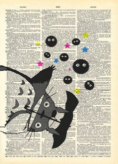 Its Raining Soot Sprites Studio Ghibli Art Print on by AvantPrint, Totoro