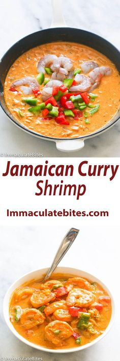 Jamaican Curry Shrimp- Curry with big bold flavors like —coconut milk, thyme and bell peppers are among the ingredients that round out… Jamaican Cuisine, Jamaican Dishes, Jamaican Recipes, Curry Recipes, Soup Recipes, Cooking Recipes, Oven Recipes, Recipies, Shrimp Dishes