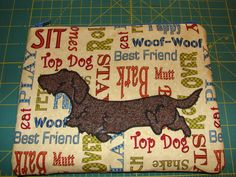 Mini tote bag with wire-haired dachshund applique by StitchedByShawn on Etsy