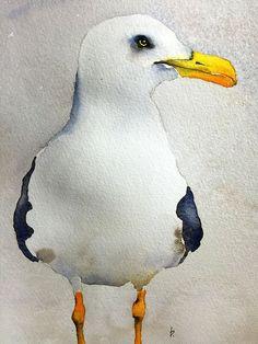 Aquarel vogel schilderij vogel kunst originele door bMoorearts