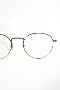 9dad487d5b0 Vintage Round Glasses 1980s Copper Geek Chic Womens Girls Nerdy 80s  Eighties Geeky Retro Wire Rim Preppy Metallic Sunglasses Sunnies