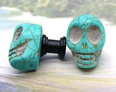 Knobs, Stone Knobs, Cabinet Knobs, Blue Magnesite Skull Shaped Cabinet Knobs - Set of Stone Cabi