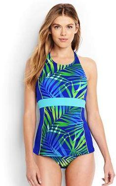 Womens Long Textured Halterneck Tankini Top - 14-16 - BLUE Lands End Cheap Sale Deals ynUjOrZdDx