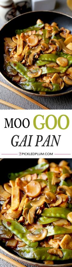 Moo Goo Gai Pan - Easy recipe for Chinese chicken and vegetable stir fry tossed in a nutty, sour, sweet and savory, gooey sauce (ready in 20 minutes!). We love this for a simple and healthy work lunch! Recipe, chicken, stir fry, dinner, easy, Chinese | pi