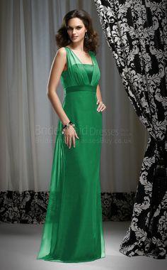 Sheath+Sleeveless+Straps+Green+Chiffon+Floor-length+Bridesmaid+Dresses(UKBD03-645)