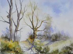 aquarelle,paysage,abby,arbres,sous-bois,forêt,campagne,chemin,ardennes,famenne,printemps,chêne