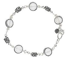 Or Paz Sterling Gemstone and Bead Station Bracelet