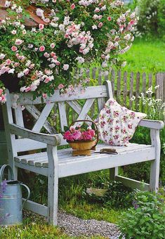 Who wouldn't love to sit on this little, white bench amidst a patch of lush green and pink roses?