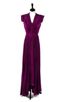 A Madame Grès purple draped silk jersey evening gown, circa 1945