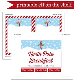 Elf on the Shelf North Pole Breakfast ideas including free printable sign and editable letters from your friendly elf.