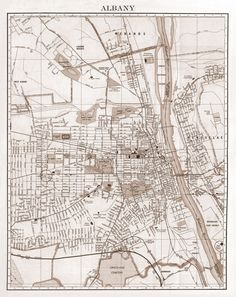1900's City Lithograph Map of Albany