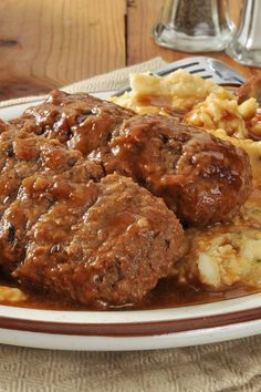 Meatloaf Patties with Mashed Potatoes and Gravy Recipe