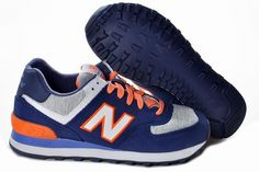 Joes New Balance 574 WL574HNG Retro lovers Deep Blue Grey Orange Womens Shoes