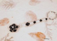 Flower Beaded Keychain  Black and White Glass by CKDesignsUS