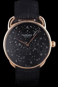 Hermes Classic Croco Leather Strap Black Dial 801405