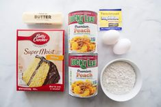 Easy Peach Cobbler Cake is part cobbler and part cake. It's made so simple by using a boxed cake mix, pie filling, yeast, eggs, butter and an easy icing! Peach Cobbler Cake, Peach Cake, Cake Mix Recipes, Dessert Recipes, Yummy Recipes, Peach Pie Filling, Peach Fruit, Cake Videos, Desert Recipes