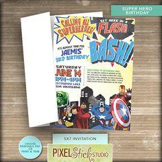 5x7 Superhero Birthday Invitation // Avengers // Captain America // Hulk // Comic Book // 3rd Birthday on Etsy, $12.50