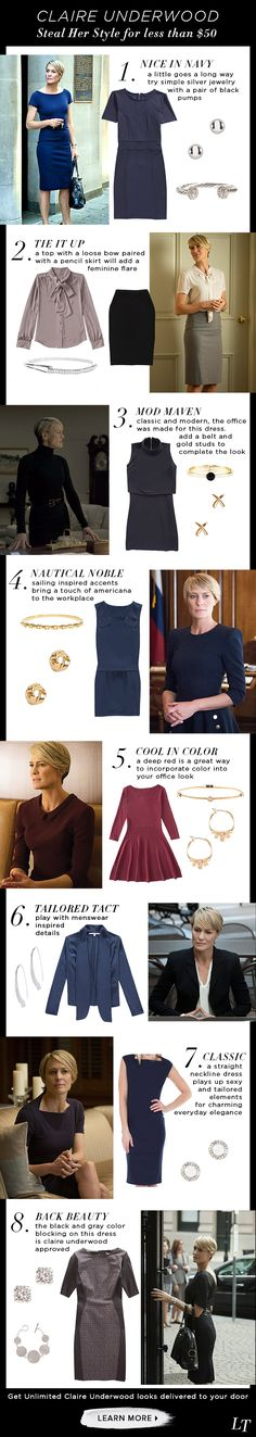 Get Claire Underwoods classic, charming, and beautiful professional style by…