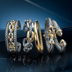 David Yurman: City spirit, these designs are both refined and daring- at home uptown, downtown and e Bracelets For Men, Jewelry Bracelets, David Yurman, Bracelet Designs, Emo Fashion, Luxury Jewelry, Jewelery, Jewelry Design, Anarkali Suits