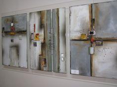 M Beneke fused glass tiles mounted on plexiglass 50x100cm
