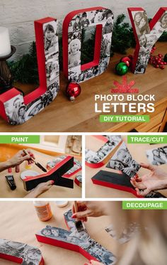 Turn Your Favorite Family Photos into Swoon Worthy Block Letters with this DIY Tutorial.